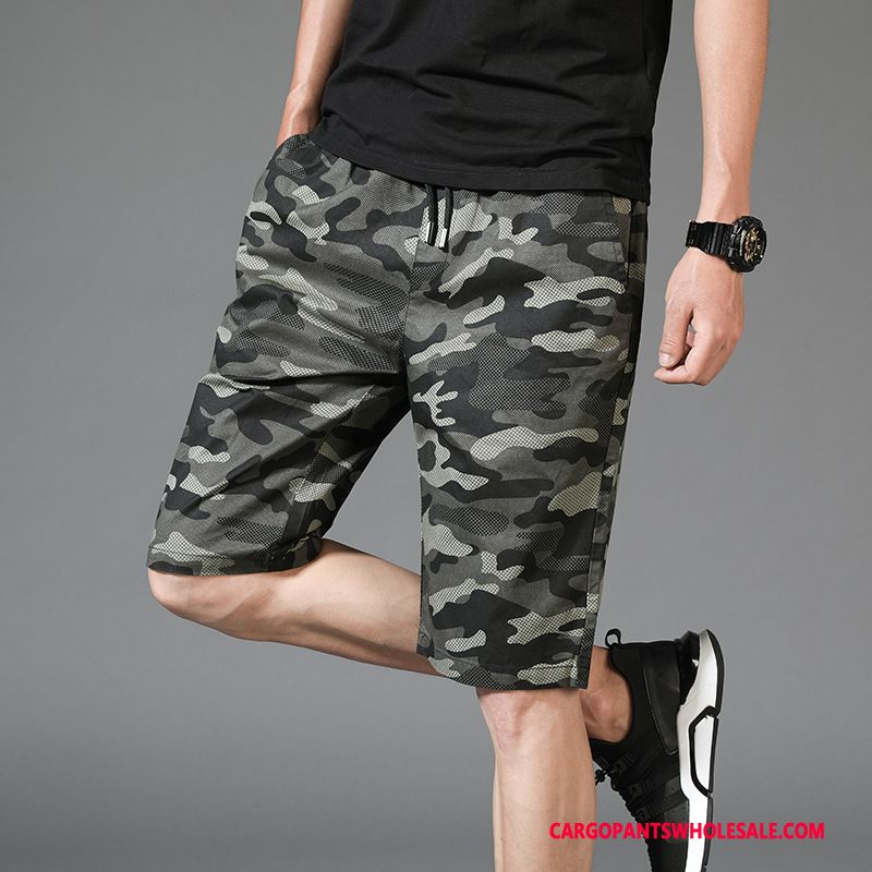 Cargo Shorts Herre Camouflage Army Grøn Cyan Cargo Brede Fritids Sport Shorts