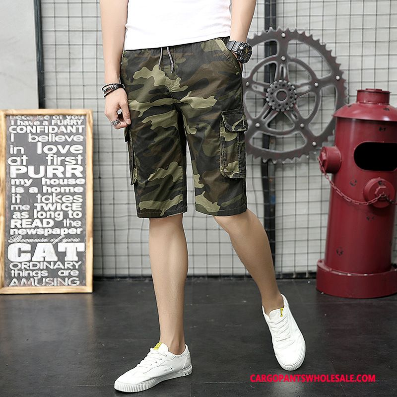 Cargo Shorts Men Camouflage Army Green Pants Summer Military Multi-pocket Leisure