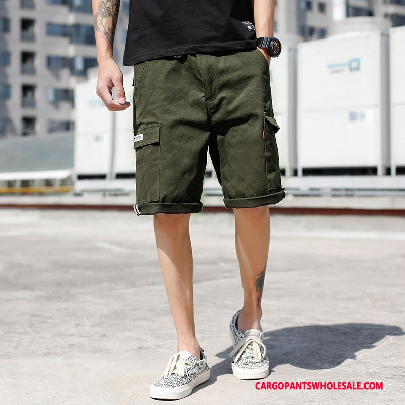 Cargo Shorts Herre Camouflage Army Grøn Shorts Cargo Bukser Studerende Ny Trendy