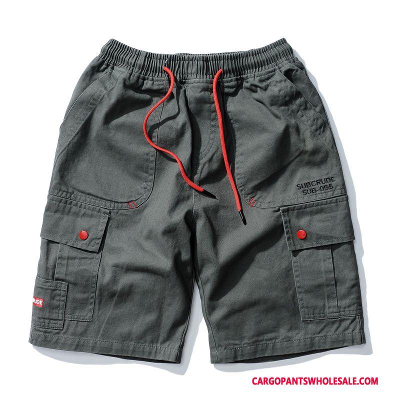 Cargo Shorts Herre Camouflage Sort Shorts Trendy Studerende Flere Lommer Cargo Bukser