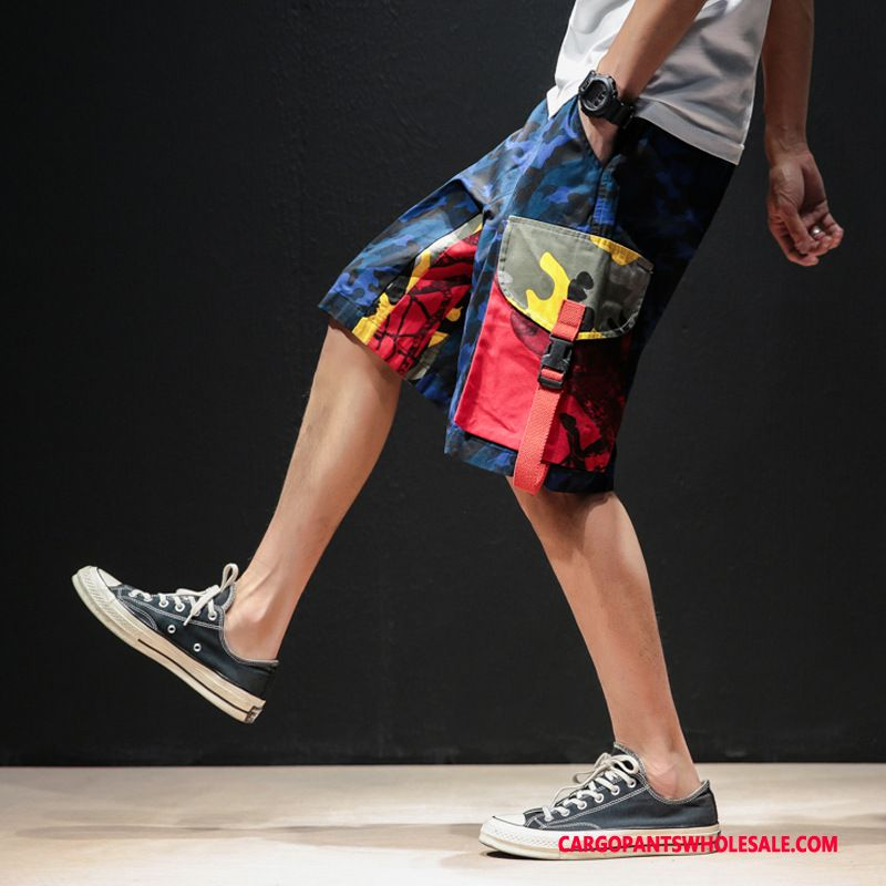 Cargo Shorts Men Camouflage Blue Shorts Chinese Style Cargo Splice Pants