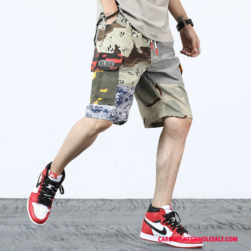 Cargo Shorts Men Camouflage Gray Jeans The New Super Tide Brand Loose