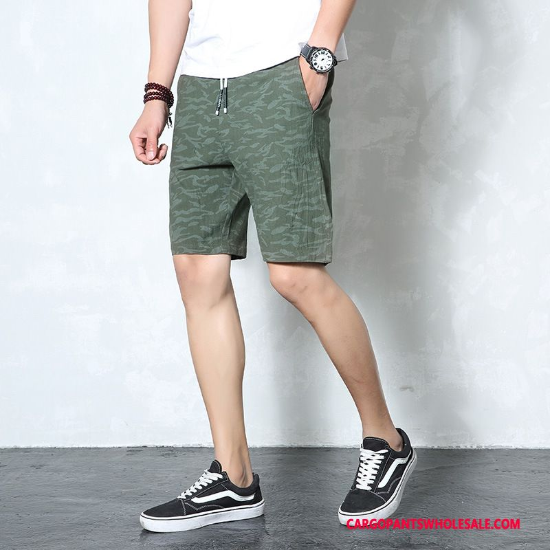 Cargo Shorts Men Camouflage Green Leisure Pants Cargo Pants Personality Medium