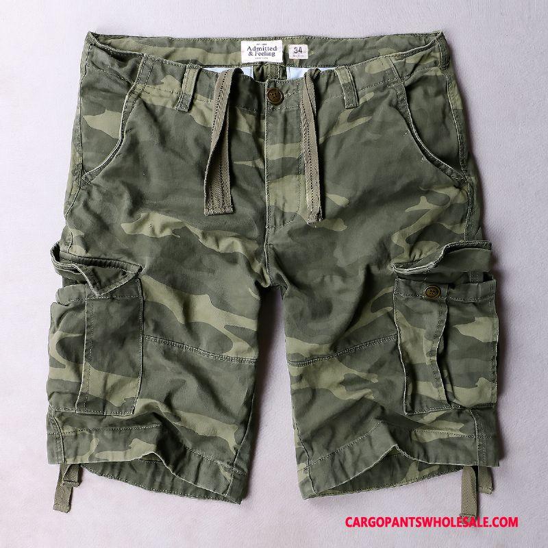 Cargo Shorts Herre Camouflage Grøn Ny Europa Flere Lommer Casual Bukser Udendørs