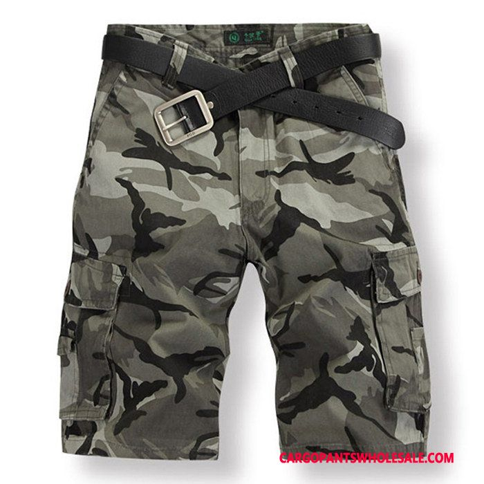 Cargo Shorts Herre Camouflage Grøn Flere Lommer Strand Shorts Fritids Brede