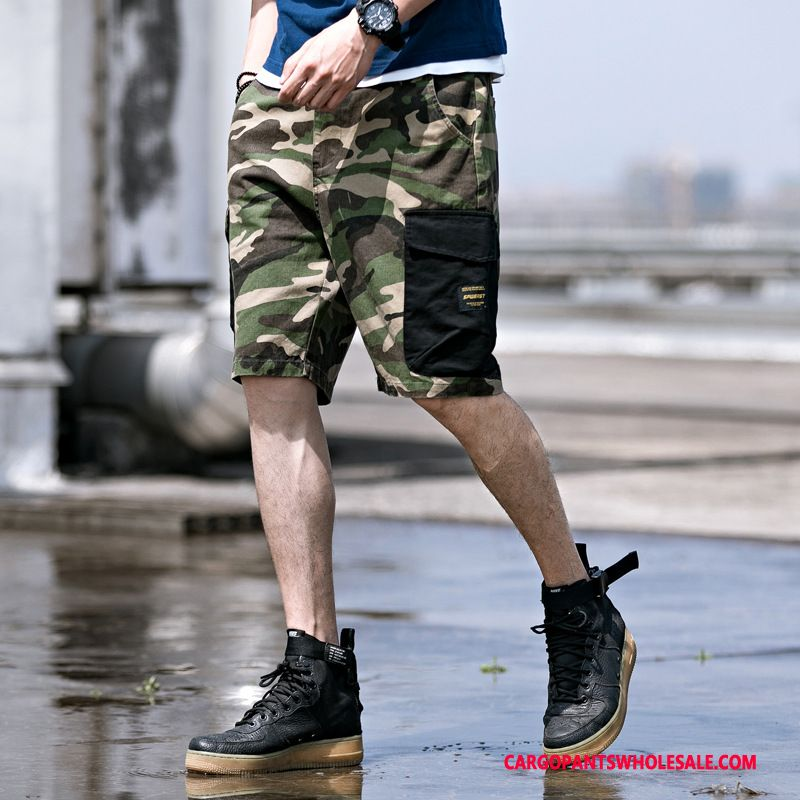 Cargo Shorts Herre Camouflage Cyan Sommer Trend Trendy Lige Bukser