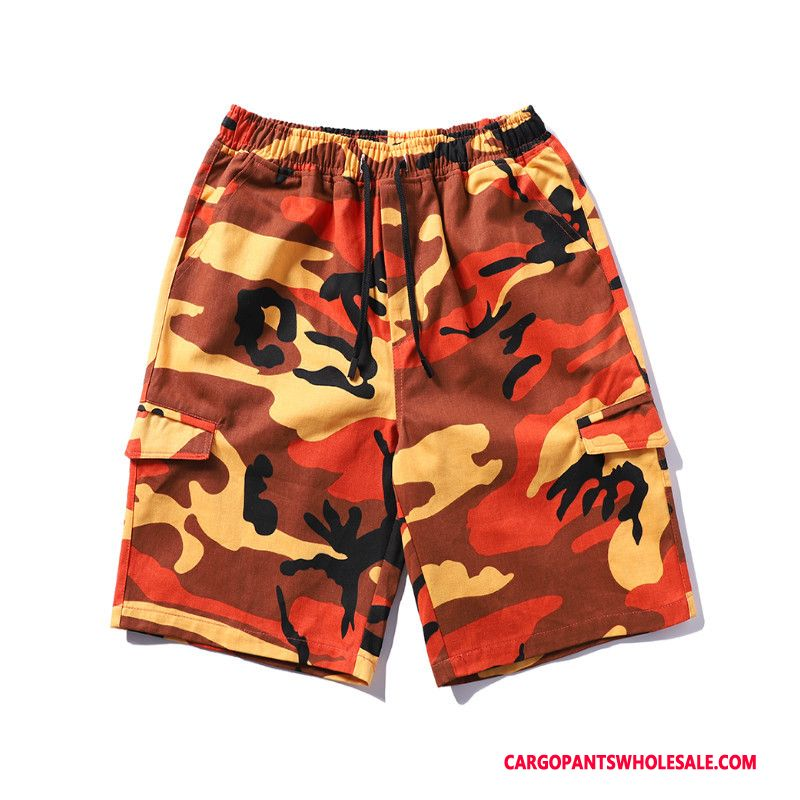 Cargo Shorts Men Camouflage Orange Hip Hop All Match Tide High Summer