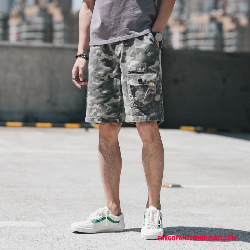 Cargo Shorts Men Camouflage Pants Medium Fashion Leisure Shorts
