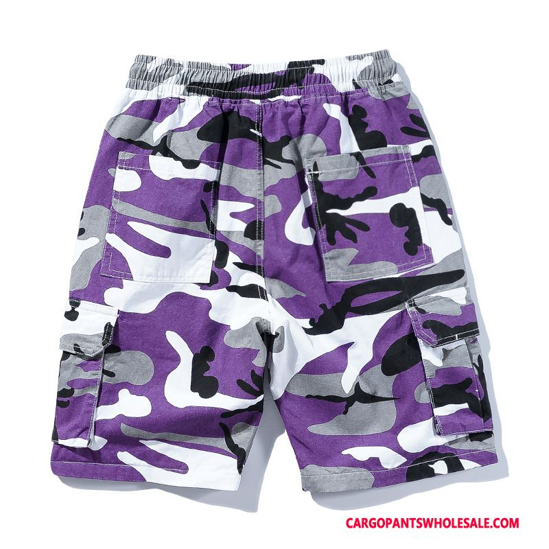 Cargo Shorts Men Camouflage Purple Pants Hip Hop Europe All Match Cargo Pants