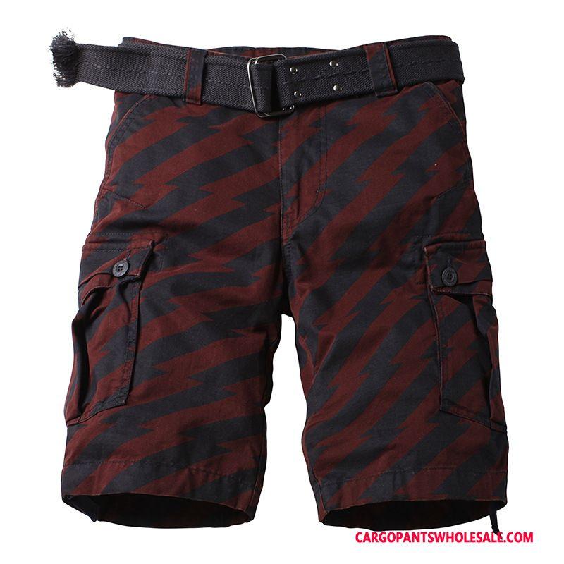 Cargo Shorts Herre Camouflage Rød Mellem Vask Cargo Bukser Bukser Flere Lommer