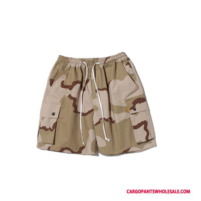 Cargo Shorts Herre Camouflage Rød Lommer Sommer Cargo Shorts Bukser