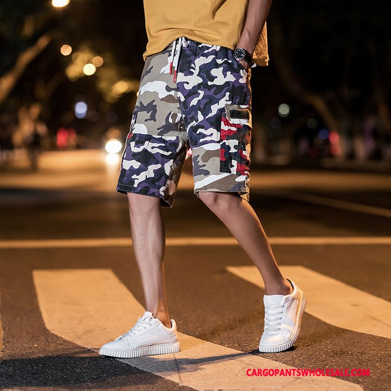 Cargo Shorts Men Camouflage Student Summer Fat Man Tide Brand Pants