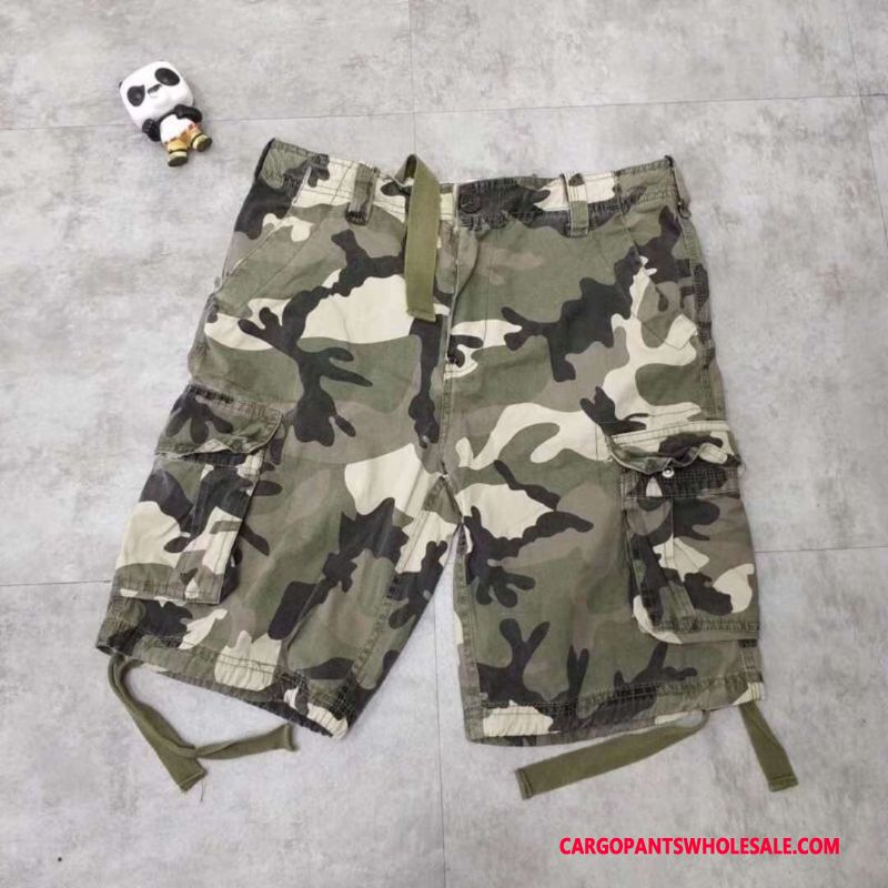 Cargo Shorts Men Camouflage The New Tide Brand Leisure Shorts Washed