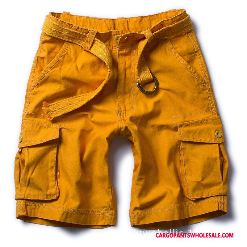 Cargo Shorts Herre Camouflage Gul Bukser Fritids Shorts Flere Lommer Cargo