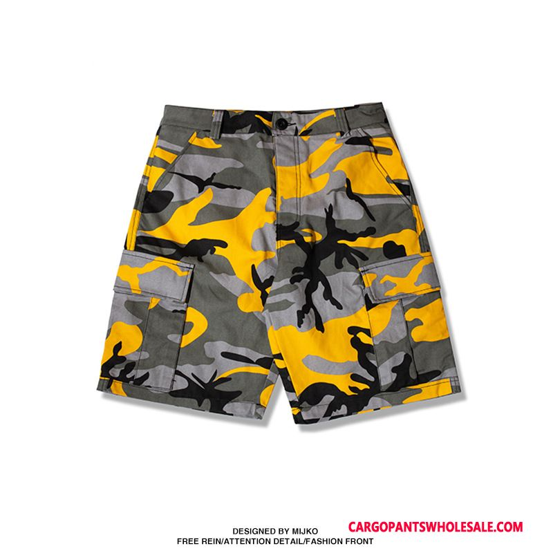 Cargo Shorts Men Camouflage Yellow Leisure Shorts Summer All Match Tide