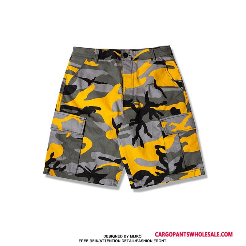 Cargo Shorts Herre Camouflage Gul Flerfarvet Høj Sommer Fritids Shorts