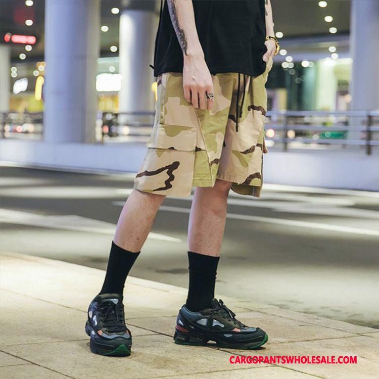 Cargo Shorts Men Camouflage Yellow Original Tide Brand Crop Casual Pants Summer