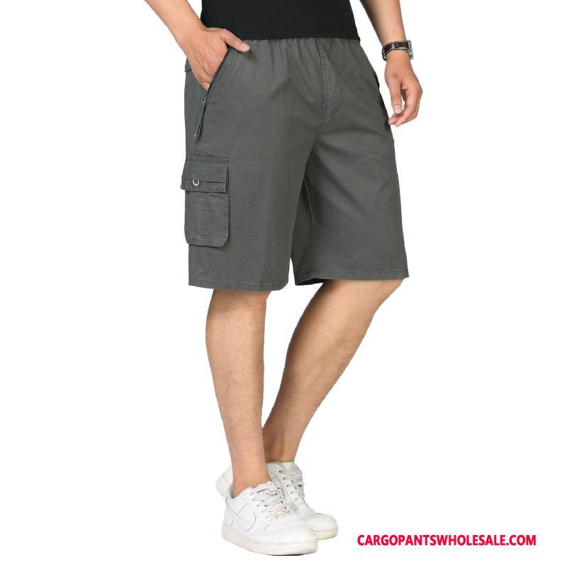 Cargo Shorts Men Deep Gray Shorts Large Size Selling Pants Cotton