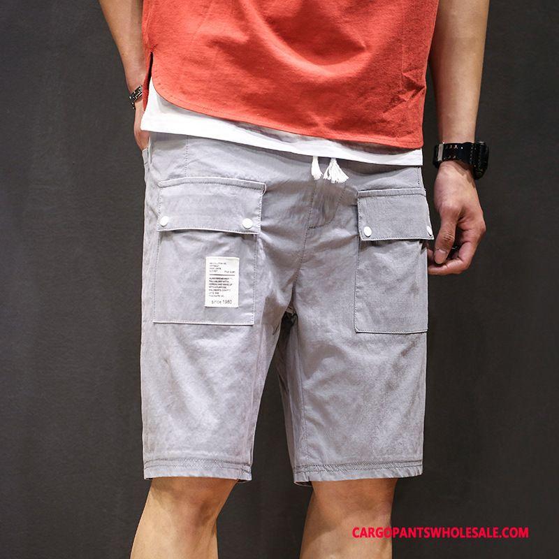 Cargo Shorts Herre Grå Udendørs Vintage Trendy Brede Sommer