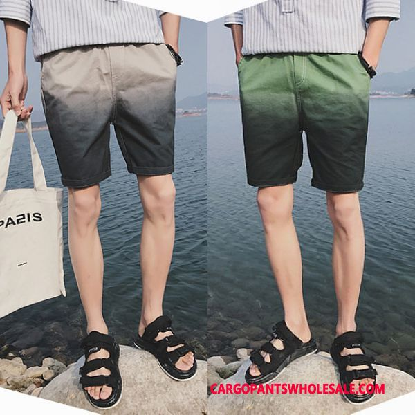 Cargo Shorts Men Gray Gradient Cargo Leisure Casual Pants Shorts