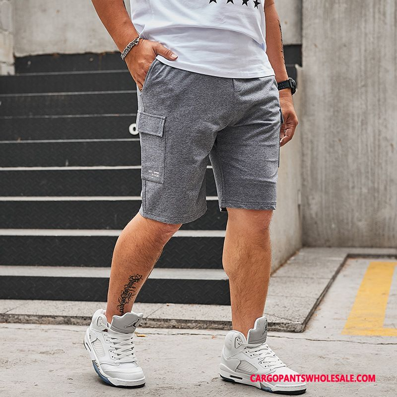 Cargo Shorts Herre Grå Casual Bukser Fede Lige Brede Shorts
