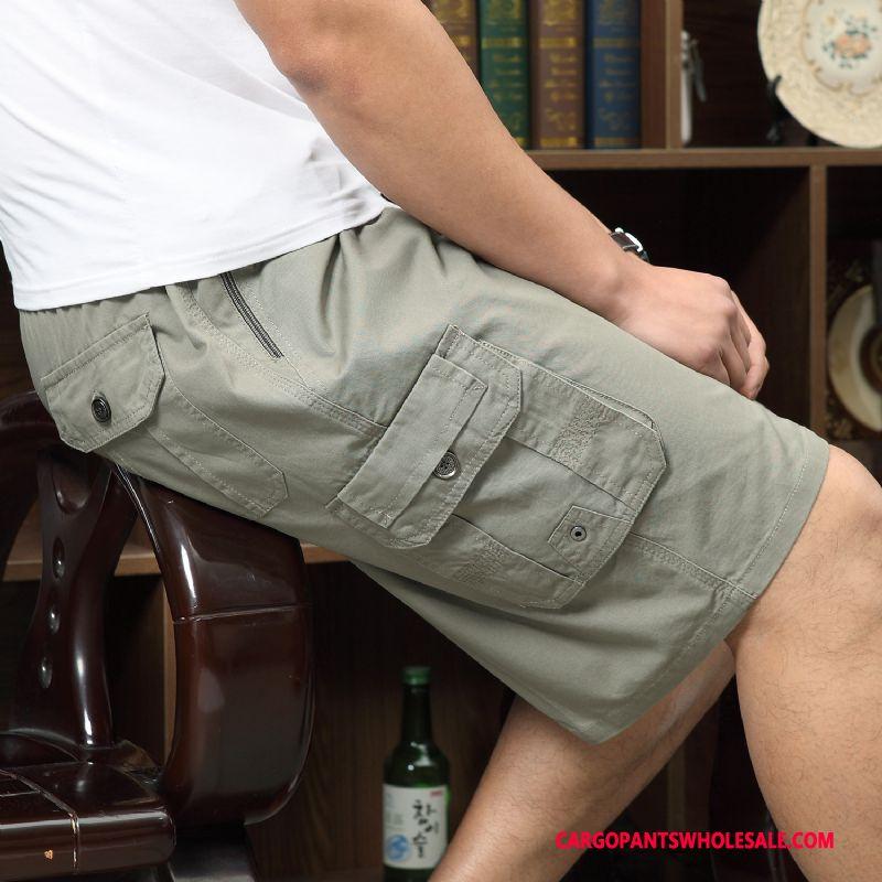 Cargo Shorts Herre Grå Casual Bukser Cargo Sommer Shorts Bomuld