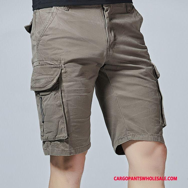 Cargo Shorts Herre Grå Cargo Bomuld Bukser Store Størrelser Flere Lommer