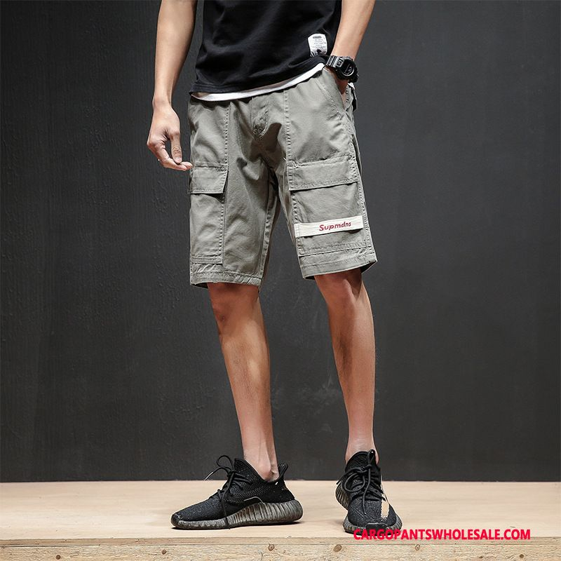 Cargo Shorts Men Gray Multi-pocket Shorts Cargo Pants Street Trend