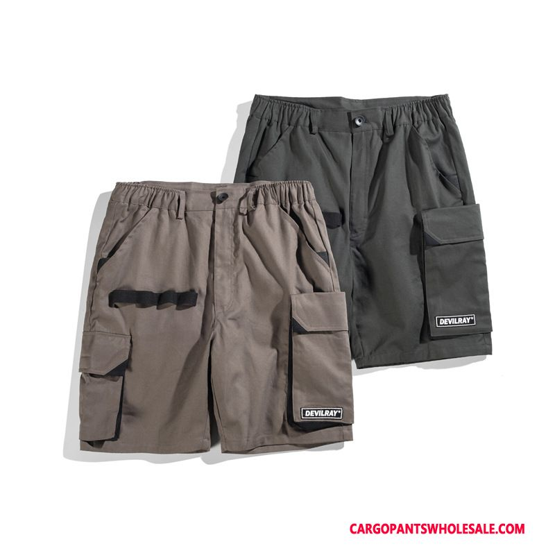 Cargo Shorts Men Gray Shorts Cargo Big Pocket Ribbon Pants