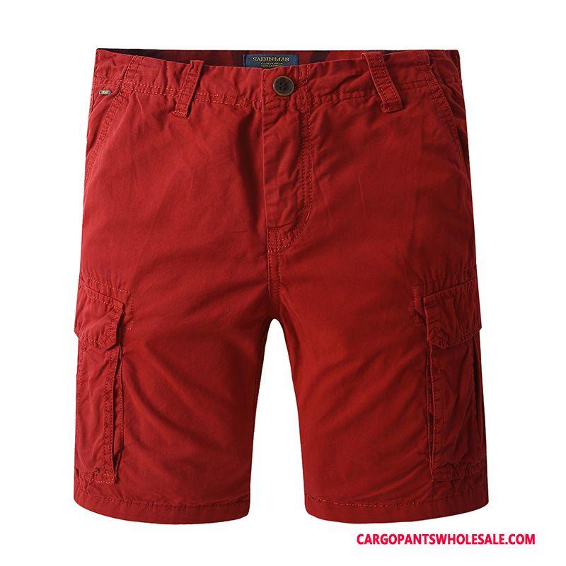 Cargo Shorts Herre Grå Casual Bukser Vask Flere Lommer Bomuld Sommer