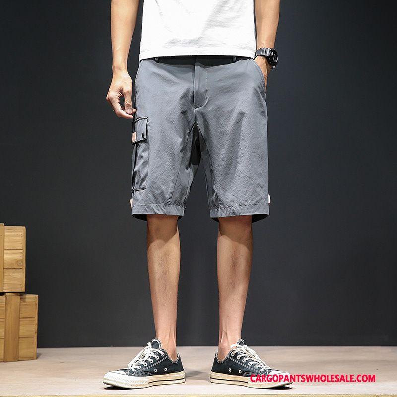 Cargo Shorts Herre Cyan Grå Unge Hurtig Tørring Trend Bukser Shorts