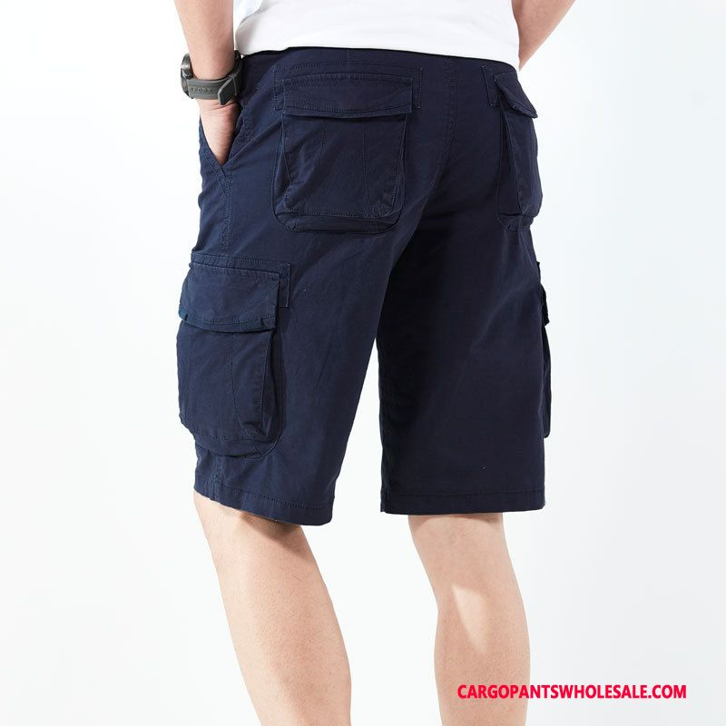 Cargo Shorts Men Green Hiking Multiple Pockets Cargo Elastic Force Large Size
