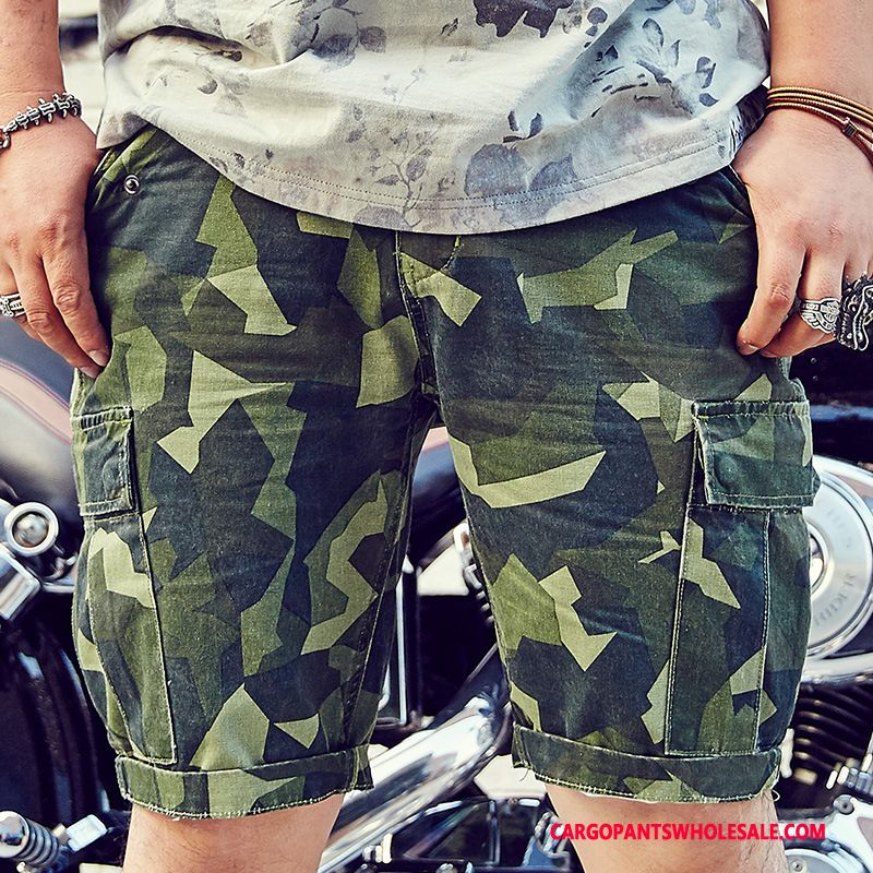 Cargo Shorts Men Green Leisure Cargo Plus Size Multi-pocket Shorts