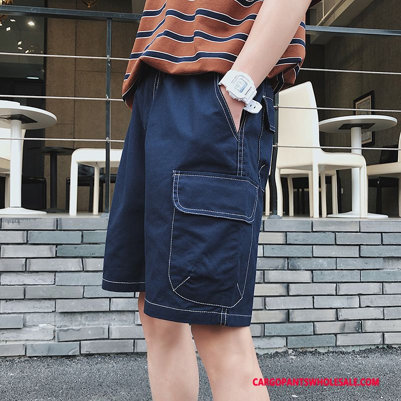 Cargo Shorts Men Green Pants Medium Solid Color Summer Cargo Pants
