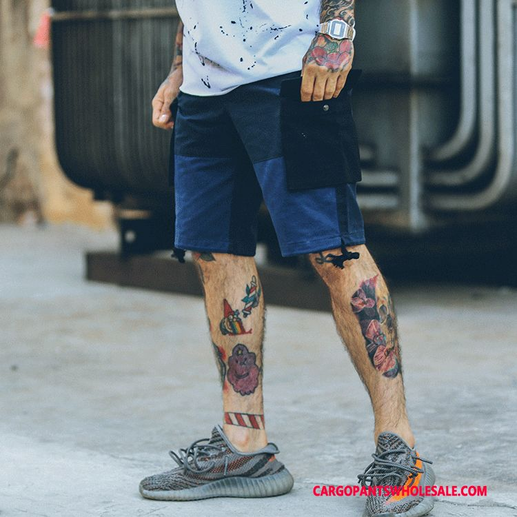 Cargo Shorts Herre Cyan Bukser Sommer Trendy Shorts Bomuld