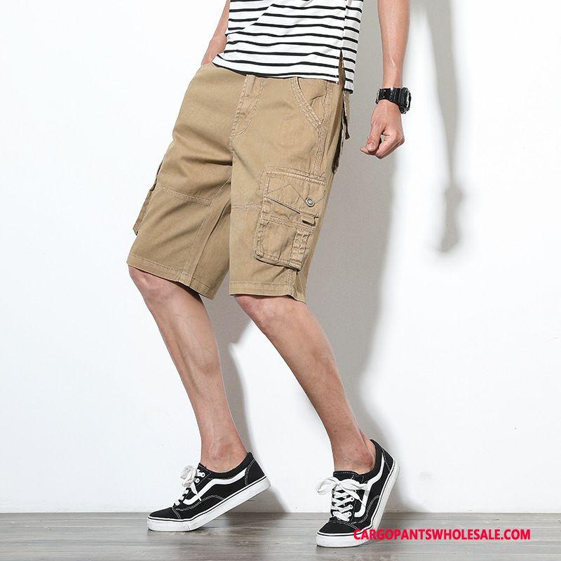 Cargo Shorts Men Green Trend Medium Pants Shorts Summer