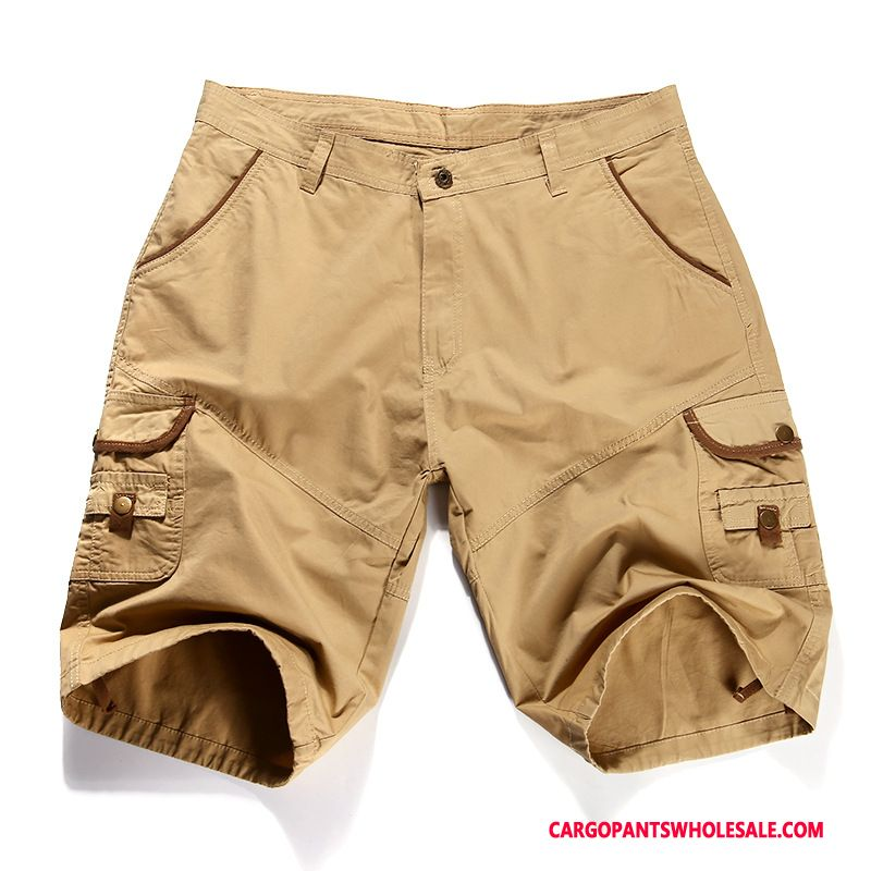 Cargo Shorts Men Khaki Breathable Cargo Shorts Leisure Loose