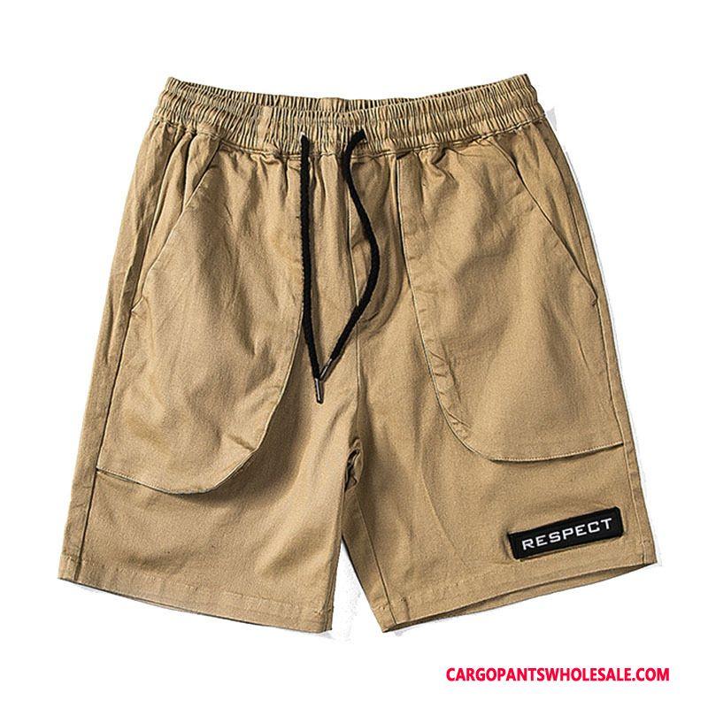 Cargo Shorts Herre Khaki Høj Flere Lommer Fritids Sommer Shorts