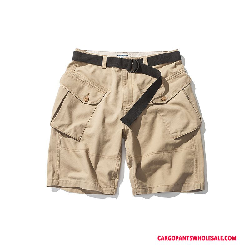 Cargo Shorts Men Khaki Casual Pants Tide Brand Shorts Belt Leisure