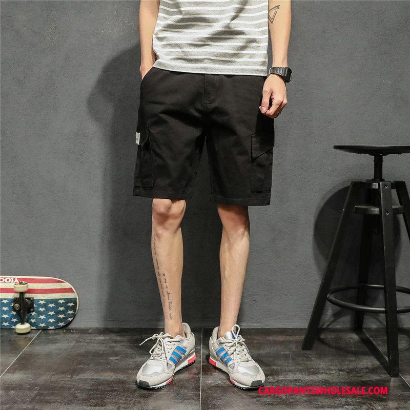 Cargo Shorts Herre Khaki Cyan Fritids Sommer Bukser Lige Ren