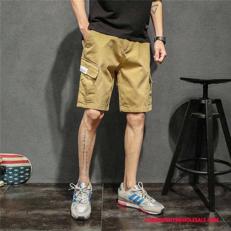 Cargo Shorts Men Khaki Green Leisure Loose Pants Straight Solid Color