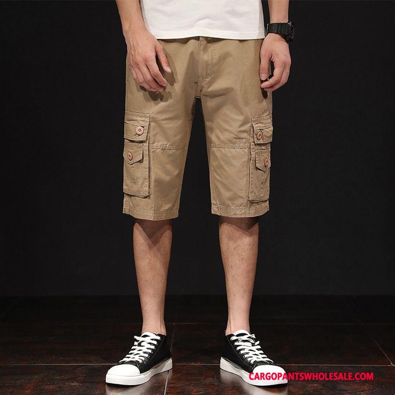 Cargo Shorts Men Khaki Green Pants Loose Leisure Summer Cargo