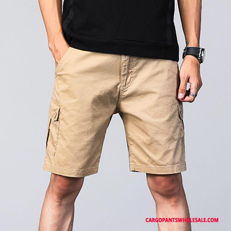 Cargo Shorts Men Khaki Green Solid Color Cotton Multiple Pockets Shorts Leisure