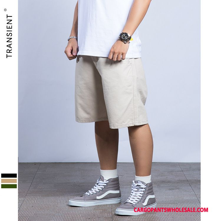 Cargo Shorts Men Khaki Light Classic Cargo Pants Solid Color Shorts Simple