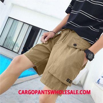 Cargo Shorts Men Khaki Multi-pocket Cargo Pants Straight Tide Leisure
