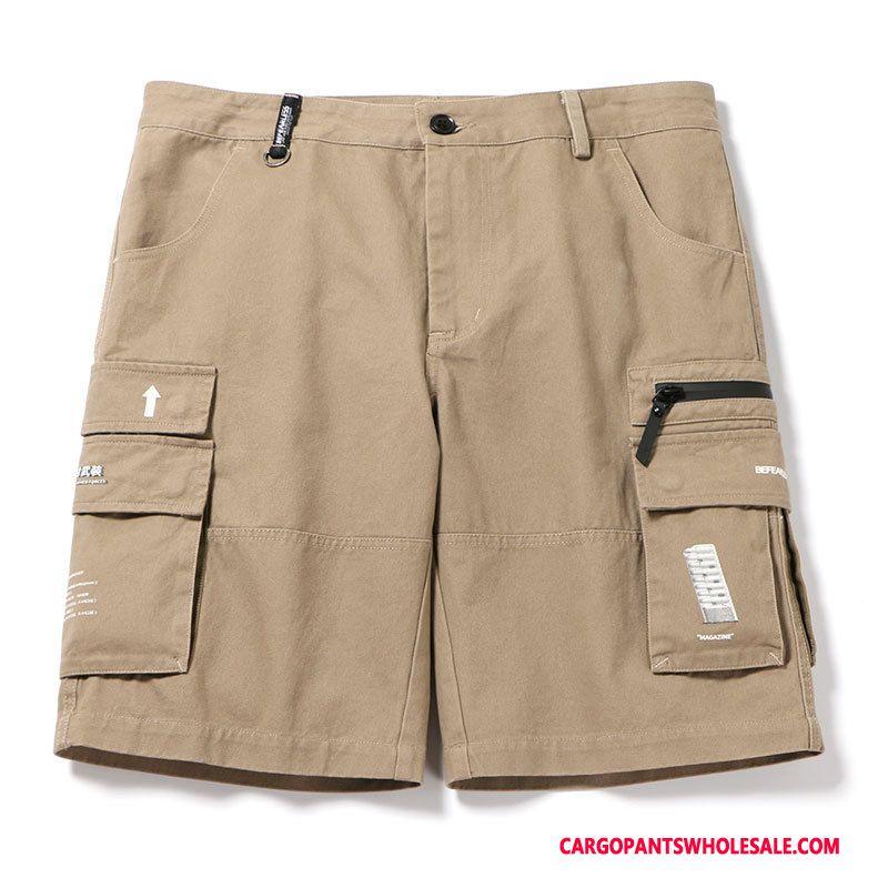 Cargo Shorts Herre Khaki Trendy Fritids Flere Lommer Sommer Bukser
