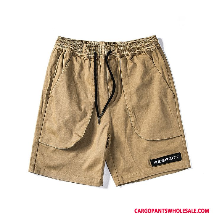 Cargo Shorts Herre Khaki Fritids Trend Cargo Swag Elastisk