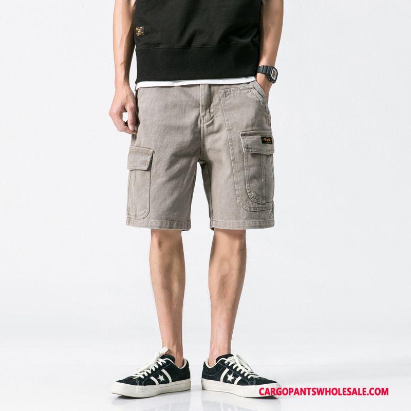 Cargo Shorts Men Khaki Student Pants Retro Beach Shorts