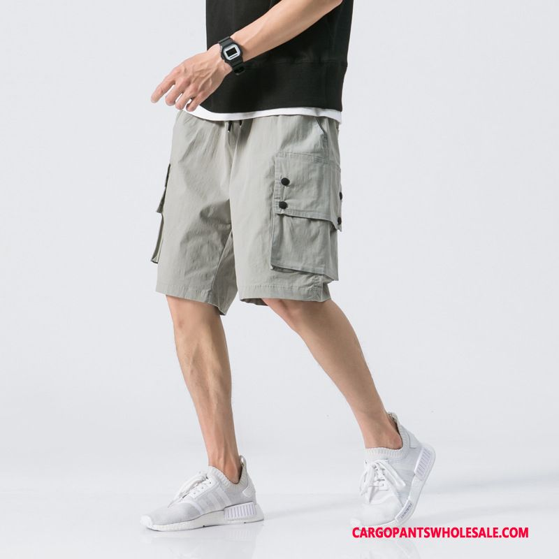 Cargo Shorts Herre Lyse Grå Sommer Mellem Bukser Bomuld Og Linned Shorts