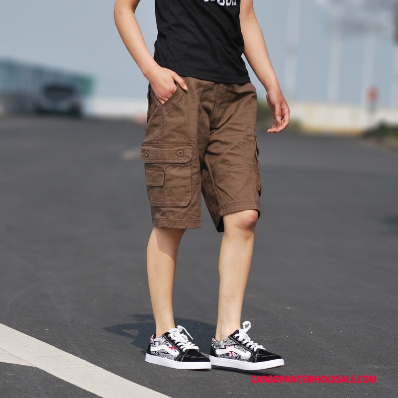 Cargo Shorts Men Loose Straight Medium Pants Shorts